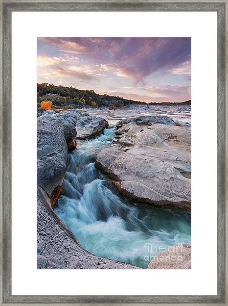 Rushing Waters At Pedernales Falls State Park - Texas Hill Country Framed Print