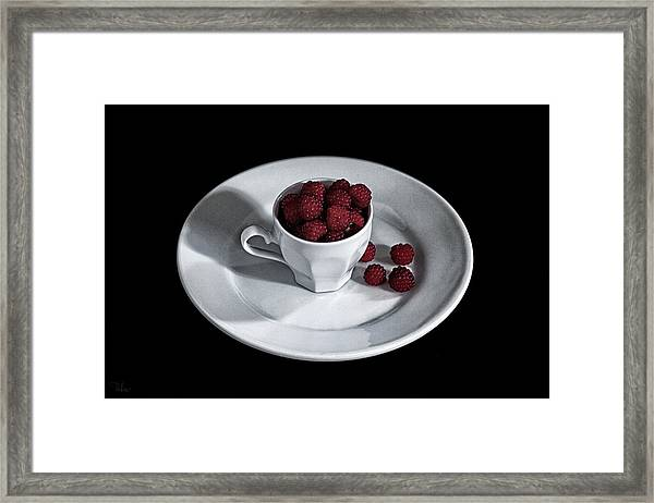 Ruspberries In The Cup - Livid Still-life Framed Print