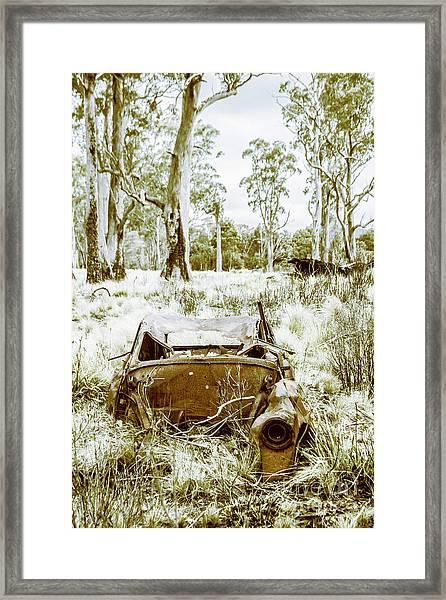 Rustic Australian Car Landscape Framed Print