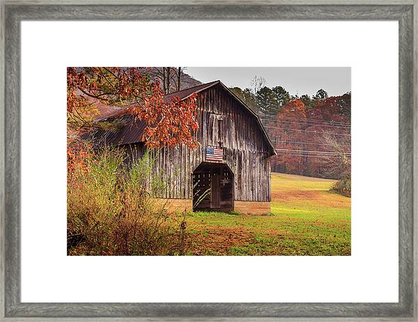 Rustic Barn In Autumn Framed Print