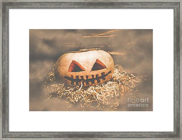 Rustic Barn Pumpkin Head In Horror Fog Framed Print