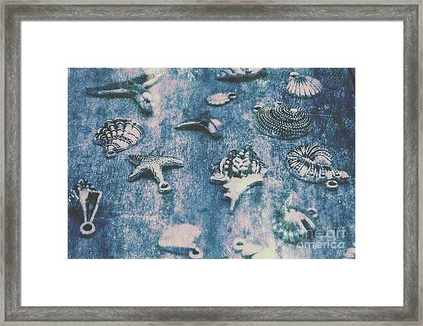 Rustic Blue Beach Art Framed Print