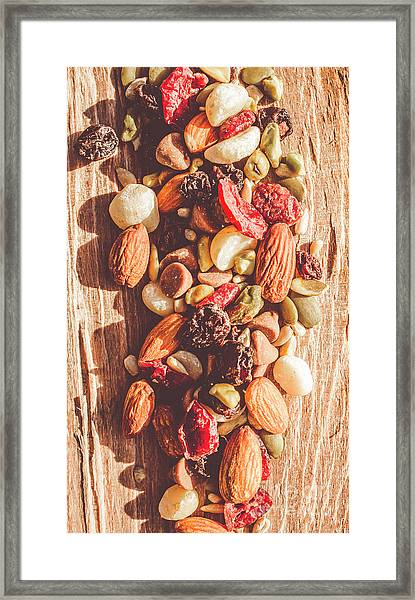 Rustic Dried Fruit And Nut Mix Framed Print