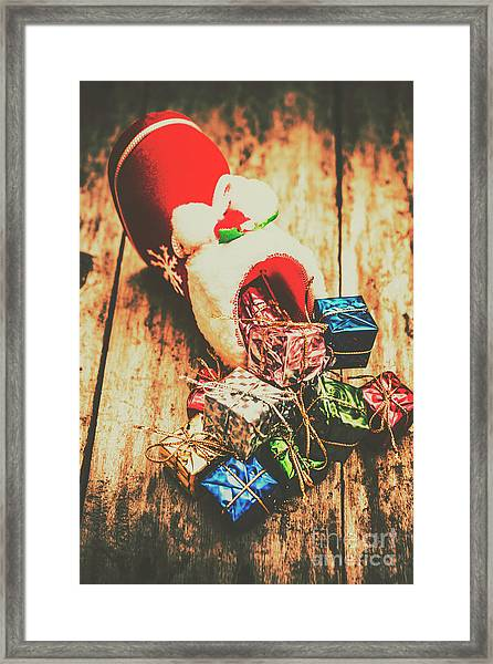 Rustic Red Xmas Stocking Framed Print