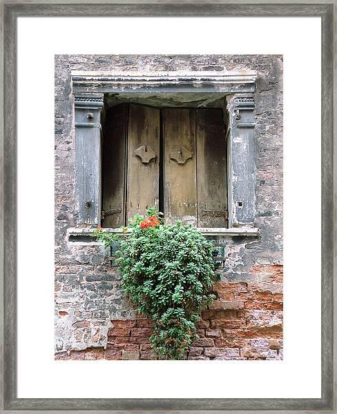 Rustic Wooden Window Shutters Framed Print