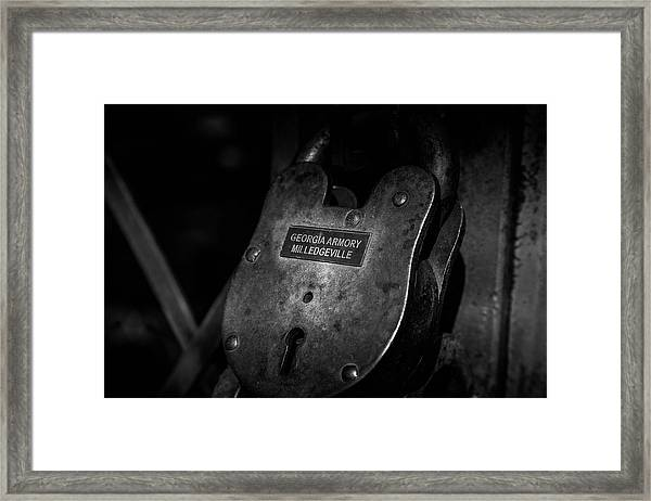 Rusty Lock In Bw Framed Print