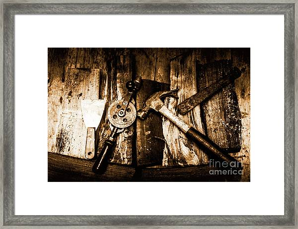 Rusty Old Hand Tools On Rustic Wooden Surface Framed Print