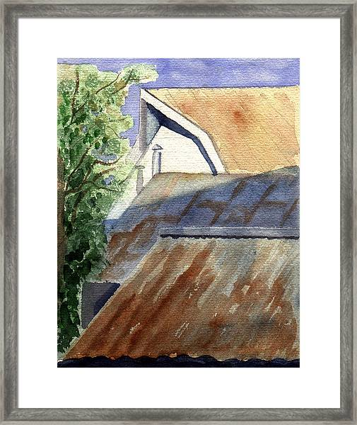 Rusty Roofs Framed Print by Jane Croteau