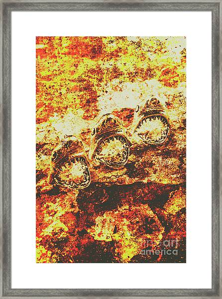 Rusty Shark Scene Framed Print
