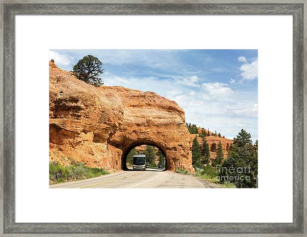 Rv Red Canyon Tunnel Utah Framed Print