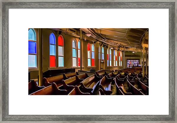 Ryman Window Pews Framed Print