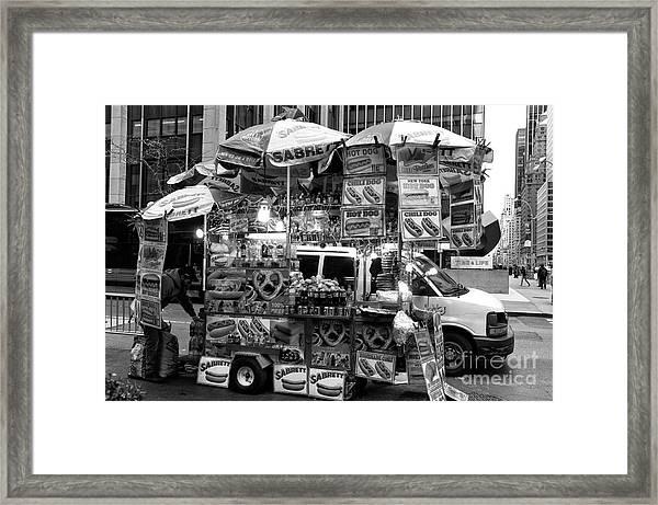 Sabrett In The City Framed Print by John Rizzuto