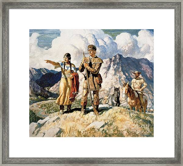 Sacagawea With Lewis And Clark During Their Expedition Of 1804-06 Framed Print
