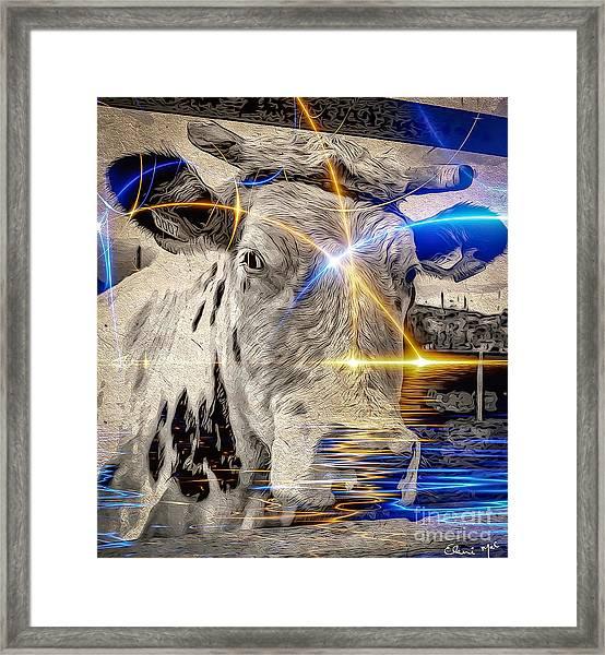 Framed Print featuring the digital art Sacred Cow by Eleni Mac Synodinos