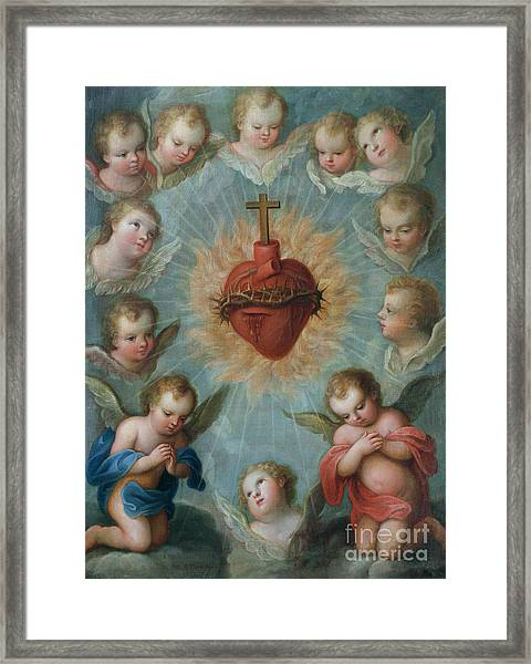 Sacred Heart Of Jesus Surrounded By Angels Framed Print