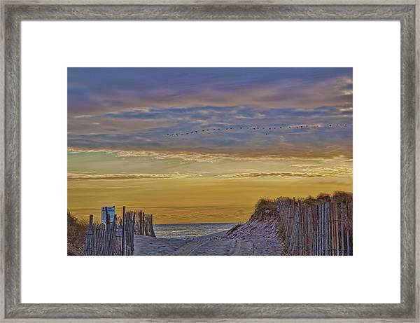 Sagg Main Beach In Winter Framed Print