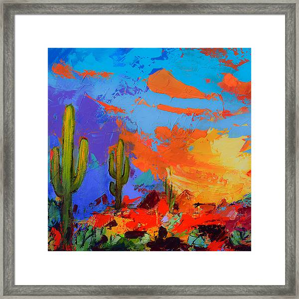 Framed Print featuring the painting Saguaros Land Sunset By Elise Palmigiani - Square Version by Elise Palmigiani