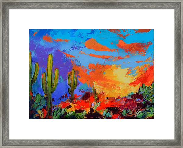 Framed Print featuring the painting Saguaros Land Sunset by Elise Palmigiani