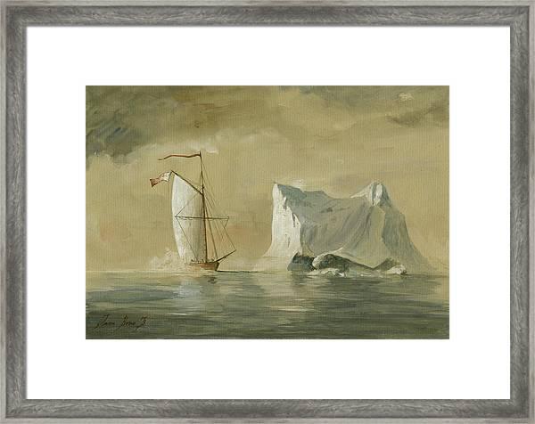 Sail Ship At The Ice Framed Print