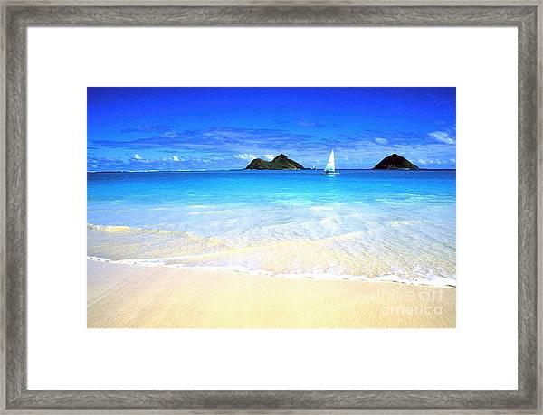 Sailboat And Islands Framed Print