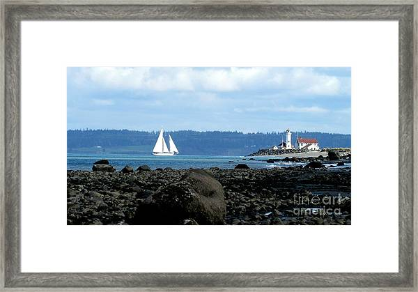 Sailboat And Lighthouse Framed Print