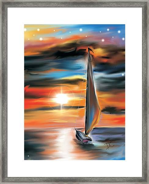Sailboat And Sunset Framed Print