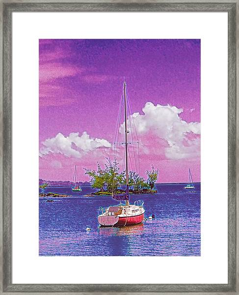 Sailboat At Reeds Bay Hilo Aloha Framed Print
