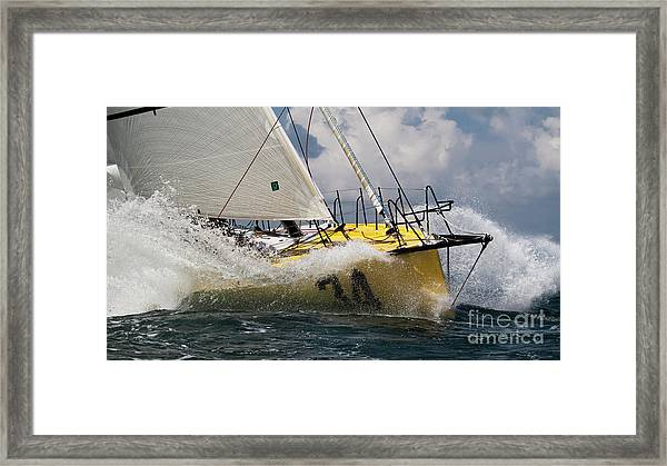 Sailboat Le Pingouin Open 60 Charging  Framed Print