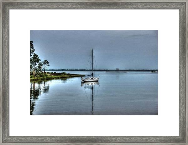 Sailboat Off Plash Framed Print