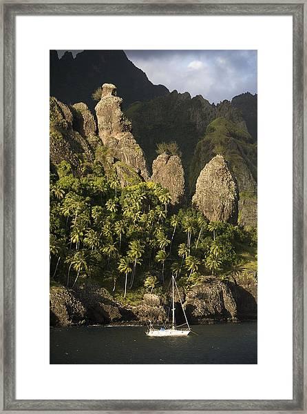 Sailboat On Bay Of Virgins, Fatu Hiva Framed Print