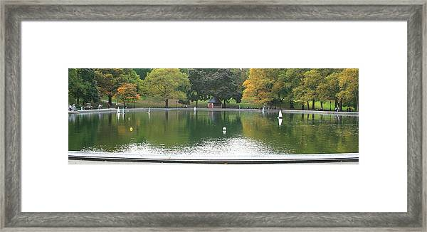Sailboat Pond Panorama Framed Print