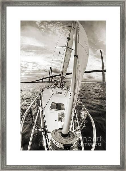 Sailboat Sailing Past Arthur Ravenel Jr Bridge Charleston Sc Framed Print