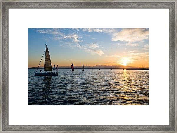 Sailboat Sunset Framed Print by Tom Dowd