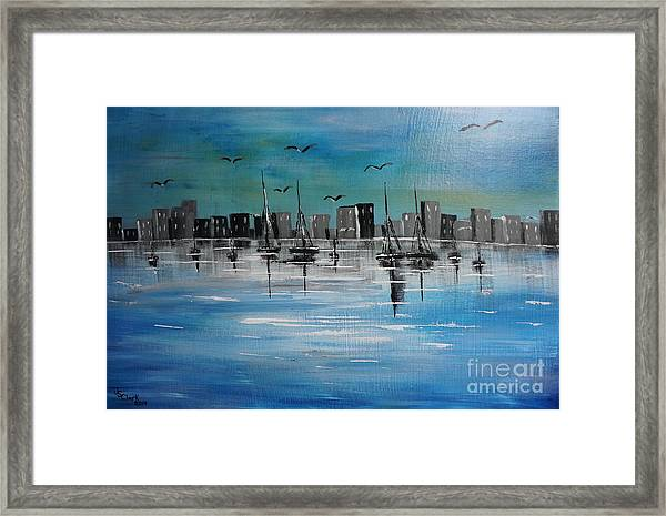 Sailboats And Cityscape Framed Print