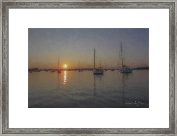 Sailboats At Sunset Framed Print