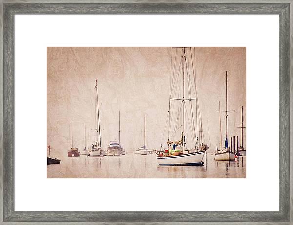 Sailboats In Morro Bay Fog Framed Print