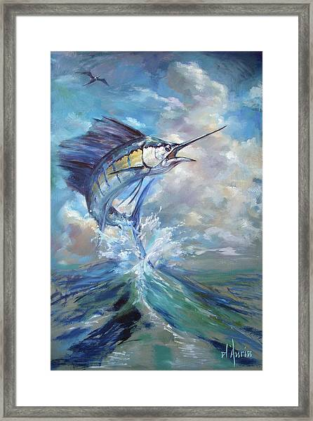 Sailfish And Frigate Framed Print