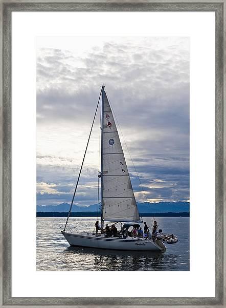 Sailing At Dusk Framed Print by Tom Dowd