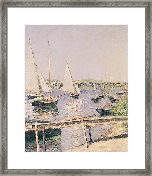 Sailing Boats At Argenteuil Framed Print