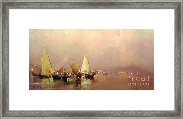 Sailing Fishermen Boats In Naples Framed Print