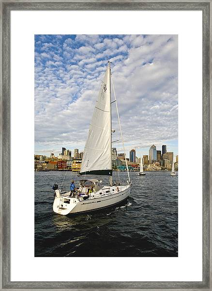 Sailing In Seattle Framed Print by Tom Dowd