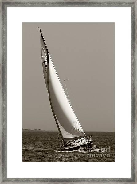 Sailing Sailboat Sloop Beating To Windward Framed Print
