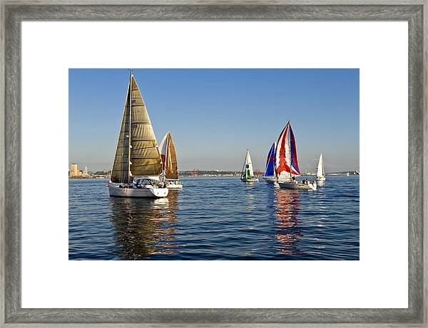 Sailing Seattle Framed Print by Tom Dowd
