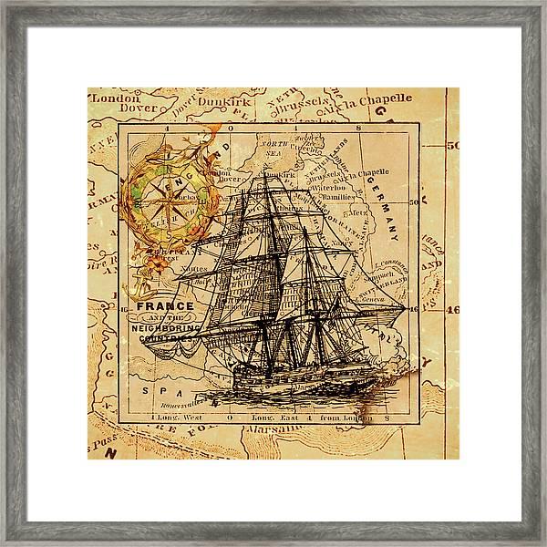 Sailing Ship Map Framed Print