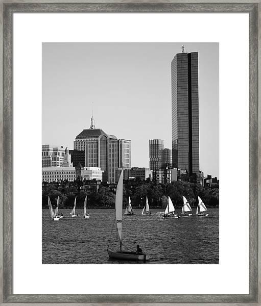Sailing The Charles River Boston Ma Black And White Framed Print
