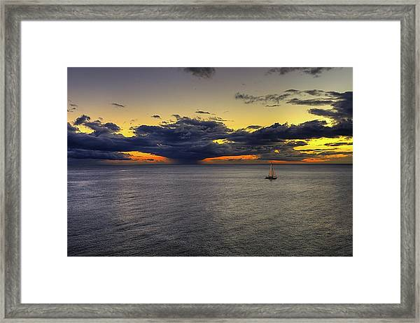 Sailing To Sunset Framed Print