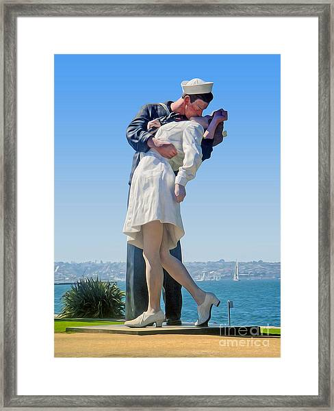 Sailors Kiss Framed Print