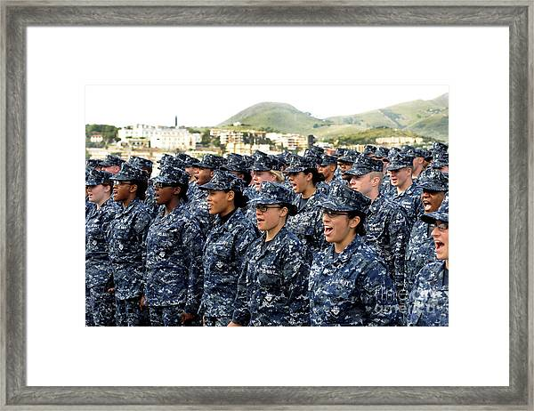 Sailors Yell Before An All-hands Call Framed Print