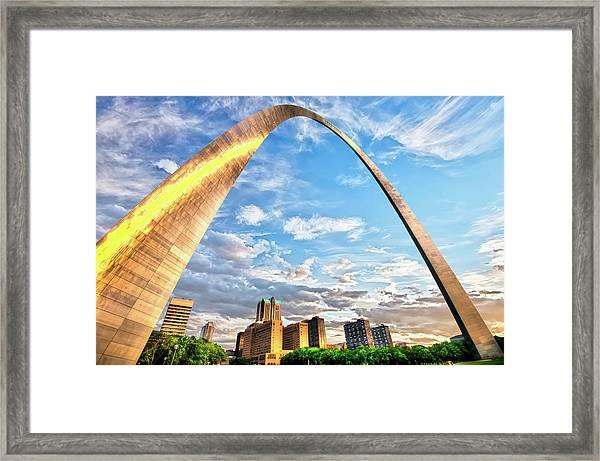 Saint Louis Skyline Morning Under The Arch Framed Print