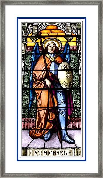 Saint Michael The Archangel Stained Glass Window Framed Print